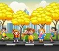 Cartoon happy children on the sidewalk