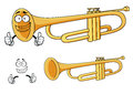 Cartoon happy classic brass trumpet character smiling depicting a rounded wind musical instrument with three piston valves for Royalty Free Stock Photos