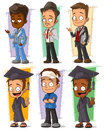 Cartoon happy college student character vector set