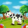 Cartoon happy cow smile in the farm Royalty Free Stock Photo