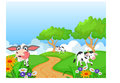 Cartoon happy cow smile in the farm Royalty Free Stock Photo