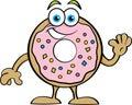 Cartoon Happy Donut Waving. Royalty Free Stock Photo
