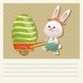 cartoon happy easter bunny carrying egg Royalty Free Stock Photo