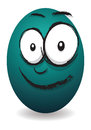Cartoon happy egg face blue Royalty Free Stock Images