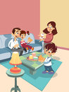 Cartoon happy family at the living room Stock Photography