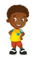 Cartoon happy and funny boy standing looking and smiling holding hands on his hips - isolated