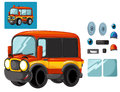 Cartoon happy and funny cartoon fire fireman bus looking and smiling - isolated scene with exercise / cutting out and joining