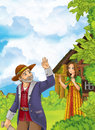 Cartoon happy and funny farm scene with father waving for goodbye to daughter - going somewhere Royalty Free Stock Photo