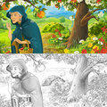 Cartoon happy and funny scene with old woman peasant or witch holding or gathering fruits or talking - with coloring page
