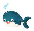 Cartoon happy and funny sea whale with bubbles