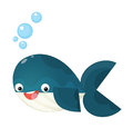 Cartoon happy and funny sea whale with bubbles isolated