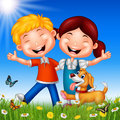 Cartoon happy kids on summer background Royalty Free Stock Photo