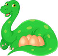 Cartoon happy Mother and eggs dinosaur Royalty Free Stock Photo