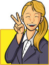 Cartoon of Happy Office Worker Girl Royalty Free Stock Photo