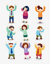 Cartoon happy office workers icon Royalty Free Stock Images
