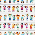 Cartoon happy office workers  seamless pattern Royalty Free Stock Photo
