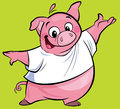 Cartoon happy pink pig character presenting wearing a t shirt cute making presentation gesture in green background Royalty Free Stock Image