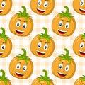 Cartoon Happy Pumpkin Seamless Pattern Royalty Free Stock Photo