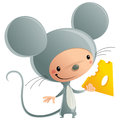 Cartoon happy smiling kid wearing funny carnival mouse cheese co vector illustration with cheerful in grey mice suit holding a Stock Images