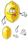 Cartoon happy smiling yellow lemon fruit illustration of a cheeky isolated on white Royalty Free Stock Photography