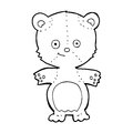 Cartoon happy teddy bear black and white line in retro style vector available Stock Images