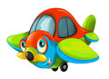 Cartoon happy traditional plane with propeller smiling and flying
