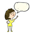 cartoon happy woman about to speak with speech bubble Royalty Free Stock Photo