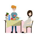 Cartoon happy young family vector illustration. Smiling pregnant woman and her husband. Maternity and care character symbols.
