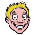 Cartoon head blonde guy Stock Photos