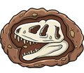 Cartoon head dinosaur fossil