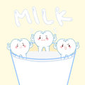 Cartoon healthy tooth with milk