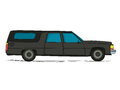 Cartoon hearse car against white background Royalty Free Stock Photo