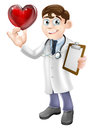 Cartoon heart doctor illustration of a young holding a shaped symbol concept for a specialist or cardiologist or for a Stock Images