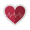 Cartoon heart pulse rhythm cardio