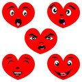 Cartoon heart set with faces
