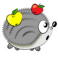 Cartoon hedgehog with apples.animal  Royalty Free Stock Images