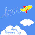 Cartoon helicopter dash word love in the sky ha happy valentines day card vector illustration Stock Image