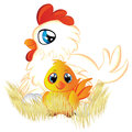 Cartoon hen and chicken cute white with eggs yellow in her nest Royalty Free Stock Images