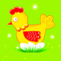 Cartoon hen with eggs on a green background Stock Photo