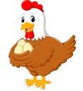 Cartoon hen and her eggs