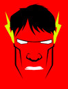 Cartoon hero expression face on red background Stock Images