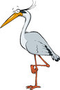 Cartoon heron on a white background Stock Photo