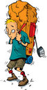 Cartoon of hiker with heavy backpack Stock Image