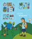 Cartoon hiker with hiking infographic elements a big happy grin carrying a rucksack near his campsite wirth a cooking fire and Royalty Free Stock Images