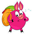 Cartoon hiking animal  illustration.cute pig Stock Images