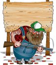 Cartoon of hillbilly in front of wooden sign