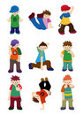 Cartoon hip hop boy dancing icon set Stock Photo