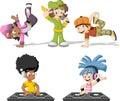 Cartoon hip hop dancers