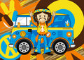 Cartoon Hippie with Camper Van