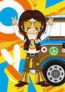 Cartoon Hippie with Camper Van